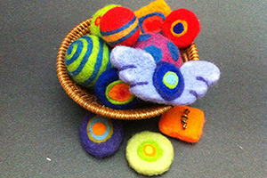 felted balls and pins